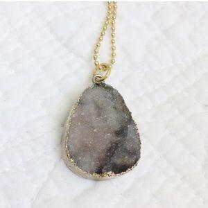 BaubleBar Gray Druzy Pendant Necklace